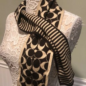 Coach Merino Wool Signature C Scarf- Brown & Tan